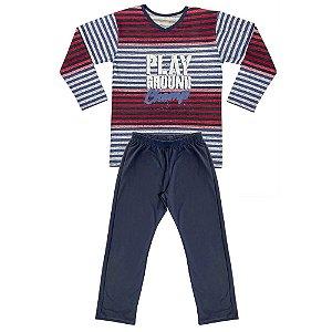 Pijama Juvenil Look Jeans Menino Vermelho