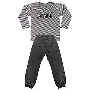 Pijama Juvenil Look Jeans Menina Blessed Preto