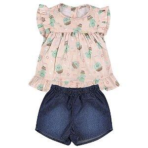 Conjunto Look Jeans Blusa + Shorts Curto Rosê