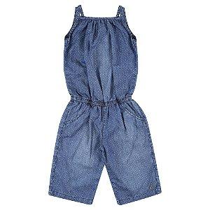 Macacão Look Jeans Pantacourt Jeans