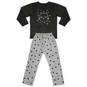Pijama Juvenil Look Jeans Menina Gatinho Preto