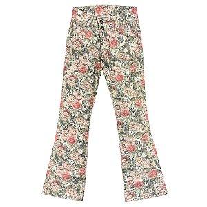 Calça Look Jeans Flare Estampada