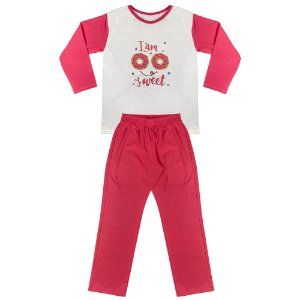 Pijama Juvenil Look Jeans Menina Donuts Pink