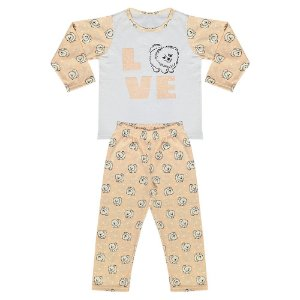 Pijama Infantil Look Jeans Menina Cachorrinho Salmon