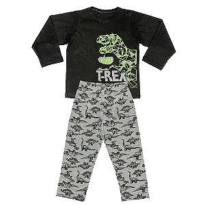 Pijama Infantil Look Jeans Menino Dinossauro Preto
