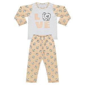 Pijama Juvenil Look Jeans Menina Cachorrinho Salmon
