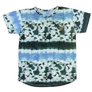 Camiseta Look Jeans Long Line Tie-dye Azul/Verde