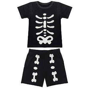 Conjunto Infantil Look Jeans Ossos Preta