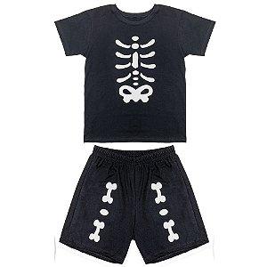 Conjunto Juvenil Look Jeans Ossos Preta