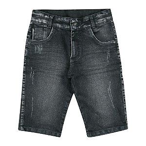 Bermuda Look Jeans Corrosão Preta
