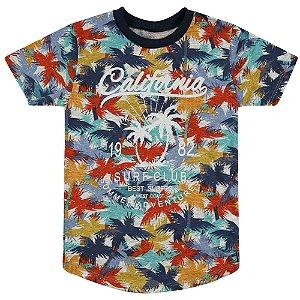 Camiseta Look Jeans Semi Longa Floral