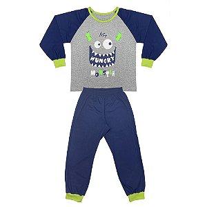 Pijama Juvenil Look Jeans Monstro Longo