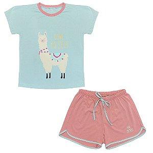Pijama Juvenil Look Jeans Lhama Curto