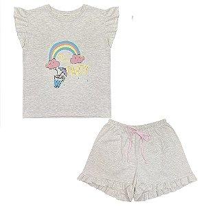 Pijama Juvenil Look Jeans Arco-Íris Curto