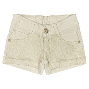 Shorts Look Jeans c/ Renda Bege