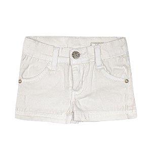 Shorts Look Jeans Básico Bege