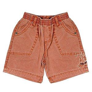 Shorts Look Jeans Elástico Laranja