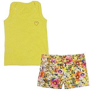 Conjunto Look Jeans Blusa + Shorts Amarelo