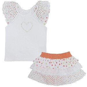 Conjunto Look Jeans Blusa + Sarja Branco/Laranja