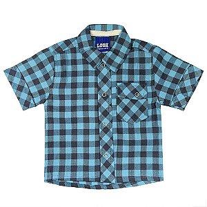 Camisa Look Jeans Clássica Xadrez Azul