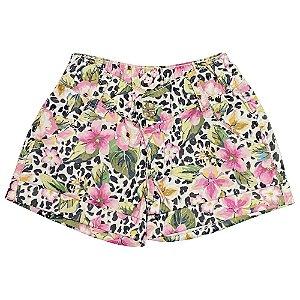 Shorts Look Jeans Barra Dobrada Floral