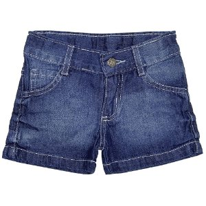 Shorts Infantil Look Jeans Básico Jeans