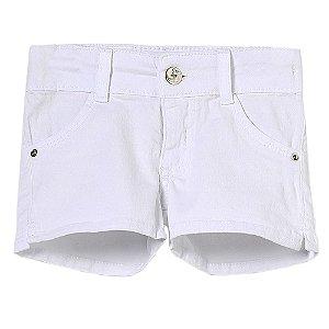 Shorts Bebê Look Jeans Sarja Branco