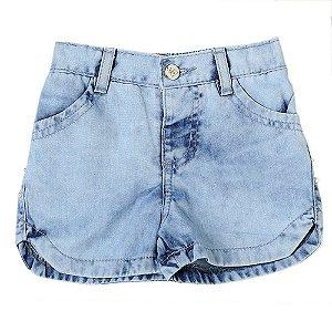 Shorts Bebê Look Jeans c/ Pérolas Jeans