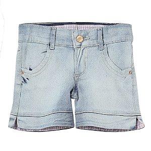 Shorts Infantil Look Jeans c/ Cinto Jeans