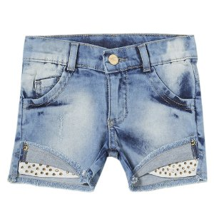 Shorts Infantil Look Jeans c/ Strass Jeans