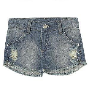 Shorts Infantil Look Jeans Barra Desfiada Jeans