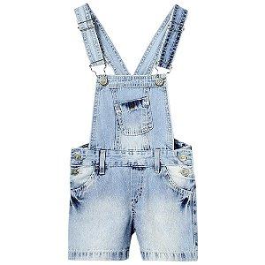 Jardineira Infantil Look Jeans Marmorizada Jeans