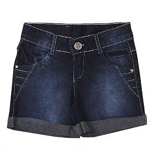 Shorts Juvenil Look Jeans Meia-Coxa Jeans