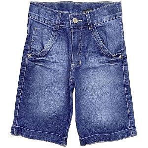 Bermuda Juvenil Look Jeans Básico Jeans