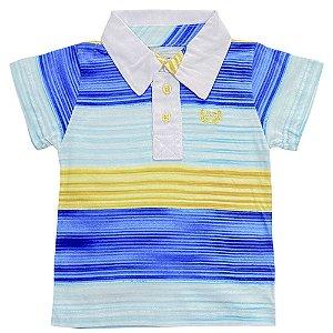 Camiseta Bebê Look Jeans Polo Listrada