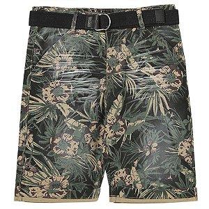 Bermuda Juvenil Look Jeans Sarja Floral