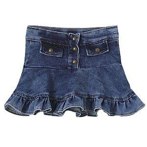 Saia Infantil Look Jeans Moletom Jeans