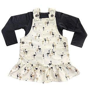 Salopete Off White Infantil Look Jeans c/ Blusinha Preta