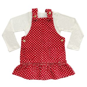 Salopete Vermelho Infantil Look Jeans c/ Blusinha Bege