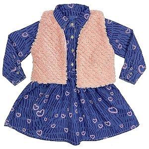 Vestido Jeans Infantil Look Jeans c/ Bolero Pele Rosa