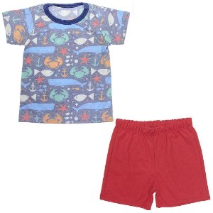 Pijama Infantil Look Jeans Curto Fundo do Mar
