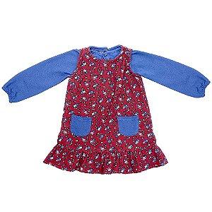 Vestido c/ Blusinha Infantil Look Jeans Veludo Vermelho