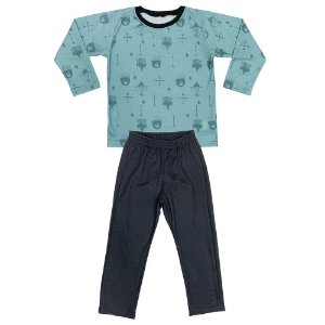 Pijama Juvenil Look Jeans Longo Verde