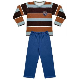 Pijama Juvenil Look Jeans Longo Listra Marrom