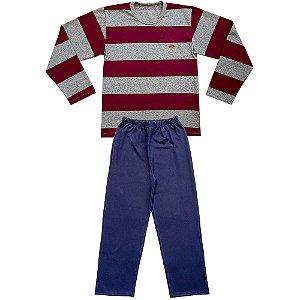 Pijama Juvenil Look Jeans Longo Listra Vinho