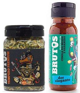 Kit Molho de Pimenta e Tempero para Churrasco - Dor Elegante (Cebola na Brasa e Habanero) e Zulmiro (Tempero Seco para churrasco)