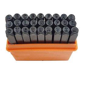 Kit Ferramenta de Punção de Aço (Batedor) 4mm - Alfabeto