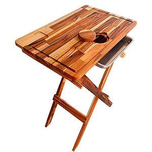 Mesa com Tábua Dobrável para Churrasco Desmontável Madeira Teca Com Gaveta