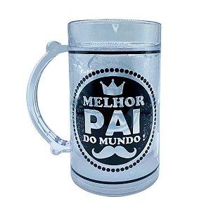 Caneca Dia dos Pais Chopp Cerveja Gel Congelante - Melhor Pai do Mundo