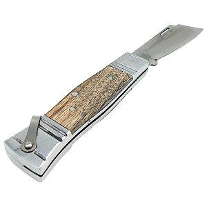 Canivete Bianchi Inox Retro Lâmina Lisa - Cabo Madeira Rústica Alumínio